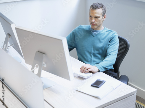 Businessman using a computer in an office