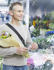 Man shopping for flowers