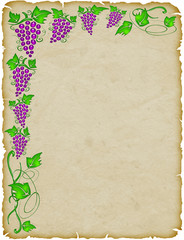 Foglio Carta con Uva-Grapefruit Sheet-Feuille de Papier Raisin 2