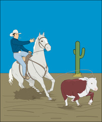 cowboy with horse, catches a cow with a lasso, rodeo
