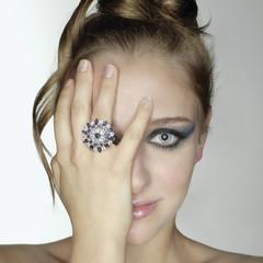 Woman wearing large ring