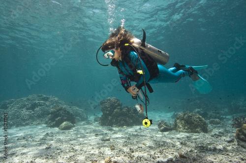 Fotobehang Duiken Taucher im Korallenriff|Divers in coral reef|