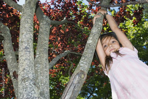 Girl swinging from tree branch