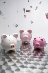 Three piggybanks with bills flying in the air