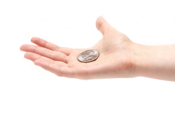 half dollar on a palm