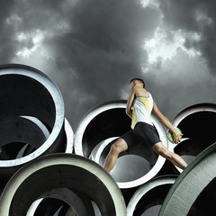 Discus thrower on large cylinders