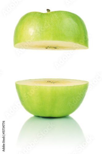 Two parts of green apple