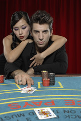 Couple playing blackjack