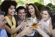Group of friends toasting outdoors