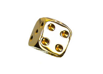 Gold dice isolated on white