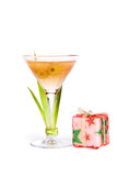 A view of a full martini glass garnished with greenery poster