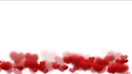 Red hearts on white - digital animation