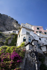 Traditional Italien lamp post and Amalfi houses