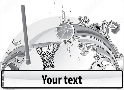 Basketball banner gray