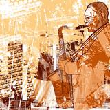 saxophonist on a grunge background