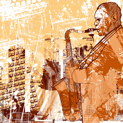 saxophonist on a grunge background © Isaxar