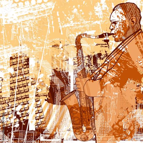 saksofonista na tle grunge