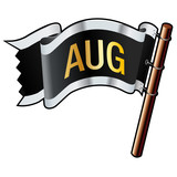 August month calendar icon on black vector flag poster