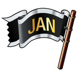 January calendar month icon on black vector flag poster