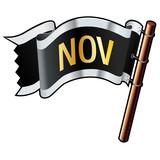 November calendar month icon on black vector flag poster