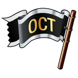 October calendar month icon on black vector flag poster