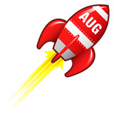 August month calendar icon on red retro rocket ship poster