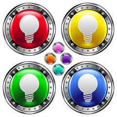 Light bulb or idea icon on round colorful vector buttons