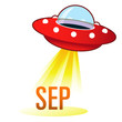 September calendar month icon on retro flying saucer UFO