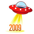 2009 calendar year icon on retro flying saucer UFO
