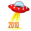 2010 calendar year icon on retro flying saucer UFO