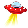 Retro flying saucer UFO with light beam