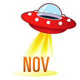 November calendar month icon on retro flying saucer UFO poster