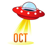 October calendar month icon on retro flying saucer UFO poster