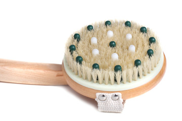 Wooden massager with natural bristle