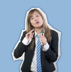 femme d'affaires débat micro
