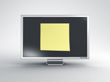 Monitor with oversized post it note