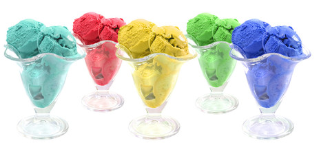 color ice cream cones over white