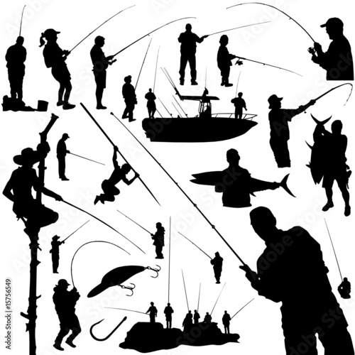fishermen and fishing equipment vector