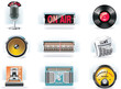 Vector radio icon set (white background)
