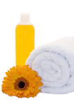 Bath items with gerbera flower
