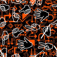 Seamless pattern with hand gestures and arrow signs
