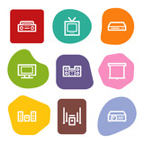 Audio video web icons, colour spots series