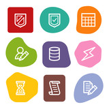 Database web icons, colour spots series poster