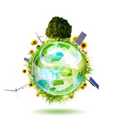 Green world concept with aerogenerator, solar panel and turbine
