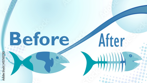 On a diet sign with funny before and after fish illustration