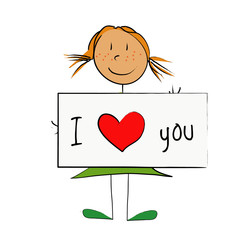 fille panneau I love you