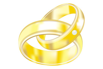 vector image of the gold wedding rings