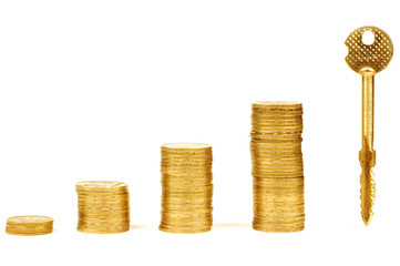 stack of coins isolated on white
