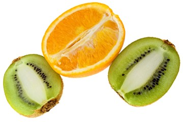 Fresh orange and kiwi isolated on white background
