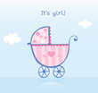 roleta: It's girl! Vector cartoon Illustration of pram.